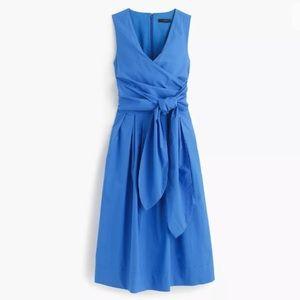 New J CREW  Crisp Poplin Belted Wrap Day Dress 8